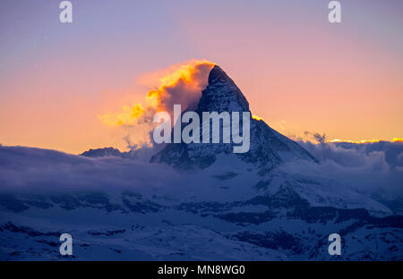 Matterhorn on Fire - Stock Image
