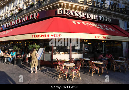 Typical Parisian brasserie Terminus Nord located next Gare du Nord railway station in Paris, France. - Stock Image