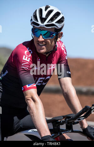 Geraint Thomas, Team INEOS (formerly Team Sky) altitude training near Mt Teide in Tenerife, in preparation ahead of the Tour de France 2019. - Stock Image