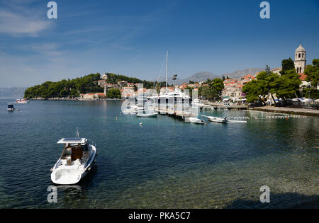 Cavtat in the Dubrovnik-Neretva County of Croatia. It is on the Adriatic Sea coast 9 miles south of Dubrovnik the centre of the Konavle municipality. - Stock Image
