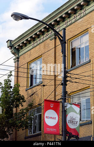 Banners advertising Italian Day 2018 celebrations on Commercial Drive, Vancouver, BC, Canada - Stock Image