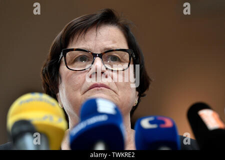 Prague, Czech Republic. 21st June, 2019. Czech Justice Minister Marie Benesova speaks during a press briefing on prepared amendment to law on state attorney's office, on June 21, 2019, in Prague, Czech Republic. Credit: Michal Kamaryt/CTK Photo/Alamy Live News - Stock Image