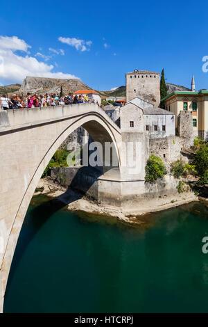 Mostar Bridge over the River Neretva; Mostar, Bosnia and Herzogovina - Stock Image