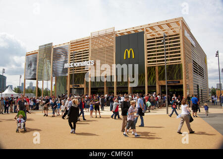 Southern MacDonalds restaurant on a sunny day at Olympic Park, London 2012 Olympic Games site, Stratford London - Stock Image