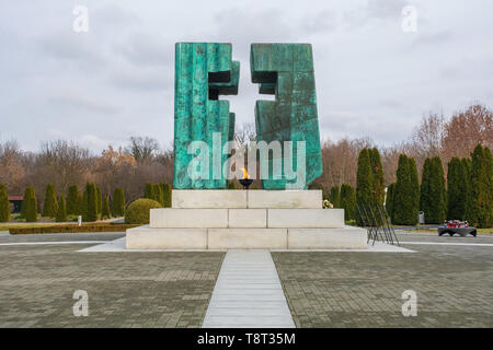 Vukovar, Croatia - January 1st 2019. Eternal Flame memorial for the casualties of the Homeland War or the Croatian War of Independence in the Vukovar  - Stock Image