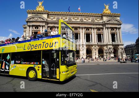 paris, tour bus and opera garnier - Stock Image