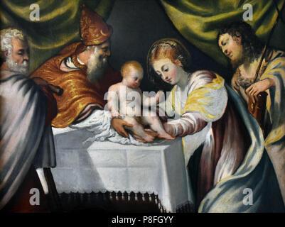 La presentazione di Cristo nel tempio - The Presentation of Christ in the Temple  by Tintoretto ( Jacopo Comin )1518 – 1594 Italian painter Renaissance school Venice Italy - Stock Image