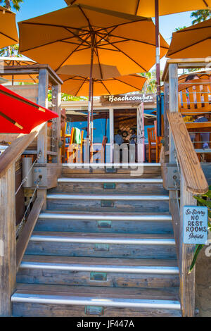 The beach entrance to The Beachcomber Restaurant at Crystal Cove State Park California USA - Stock Image
