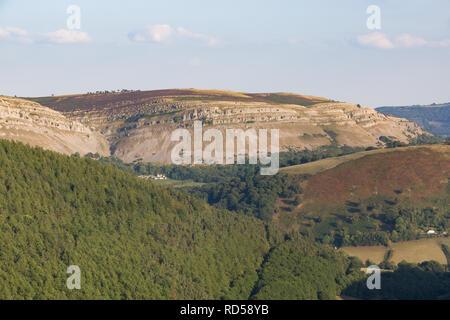 Vale of Llangollen looking toward the Eglwyseg escarpment from the Horseshoe Pass Llangollen in Denbighshire - Stock Image