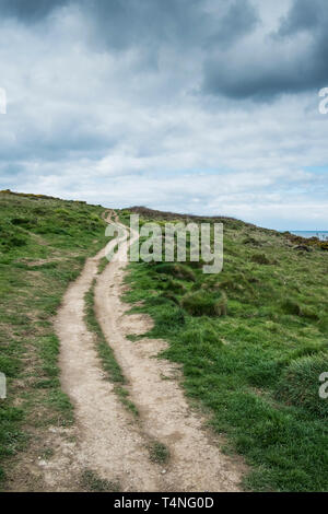 The footpath leading to Pentire Point East in Newquay in Cornwall. - Stock Image