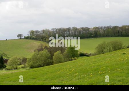 View Across the Chess Valley, Sarratt Bottom, Hertfordshire, UK - Stock Image