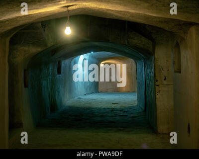 Dark galleries under Nain mosque, one of the oldest in Iran, dating back to the 9th century - Stock Image