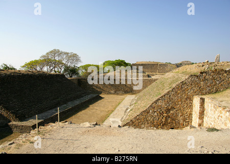 Ball Court at the Archeological Site, Monte Alban near Oaxaca City, Oaxaca, Mexico - Stock Image