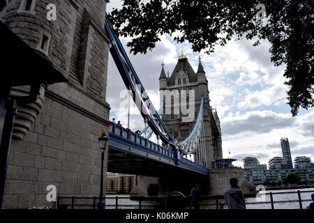 London -Tower Bridge under broken clouds - Stock Image