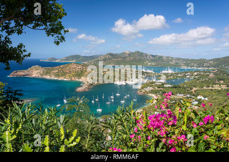 English Harbour from Shirley Heights, Nelson's Dockyard National Park, Saint Paul Parish, Antigua, Antigua and Barbuda, Lesser Antilles, Caribbean - Stock Image