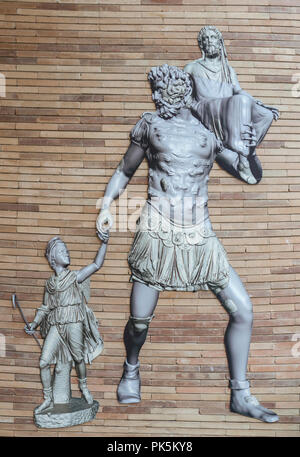 Merida, Spain - September 4th, 2018: Aeneas sculptorical group. Reconstruction. National Museum of Roman Art in Merida, Spain - Stock Image