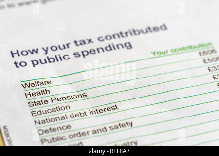 HMRC Annual Tax Summary 2017-18 letter with details of how income tax contributes to public spending - Stock Image