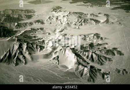 Aerial View of Desert Mountains Near Nasca Peru - Stock Image
