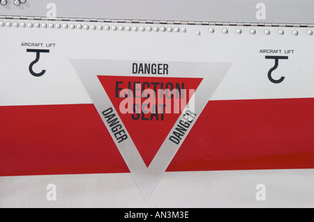 Pilatus PC9 trainer DANGER INJECTION SEAT triangle marking Croatian Air Force - Stock Image