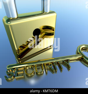 Padlock With Security Key Showing Protection Encryption Or Safety - Stock Image