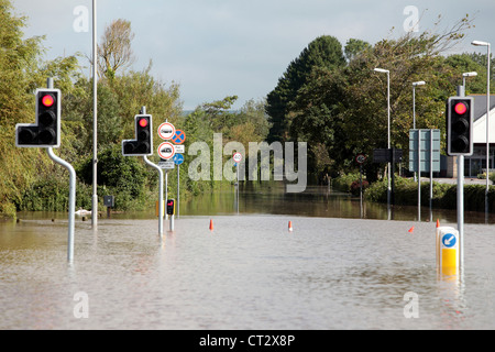 Weymouth Rains Flood the Town Prior to the Weymouth Sailing Olympics This Month with Roads Underwater - Stock Image