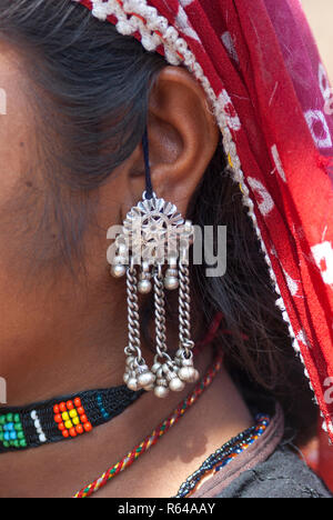 Rabari tribal woman with earring - Stock Image