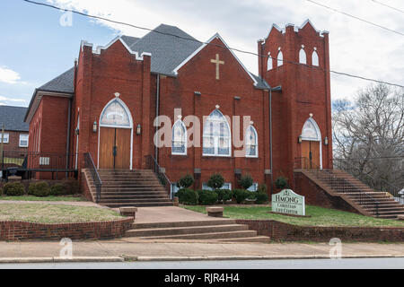 HICKORY, NC, USA-2/1/19: The Hmong Christian Life Center buildiing in west Hickory, formerly St. Paul's Lutheran Church. - Stock Image