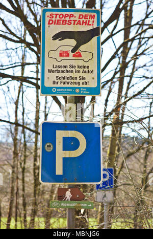 German thievery warning sign - Stock Image