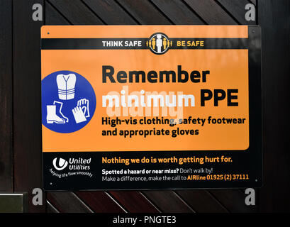 United Utilities Safety Notice. Think safe be safe. Remember minimum PPE. High-vis clothing, safety footwear and appropriate gloves. - Stock Image