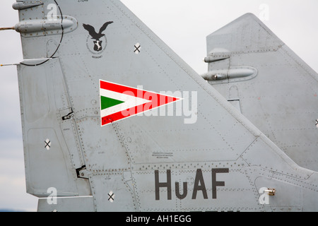 Hungary MiG-29A aircraft, close up of national insignia during airshow in Brno 2007 - Stock Image