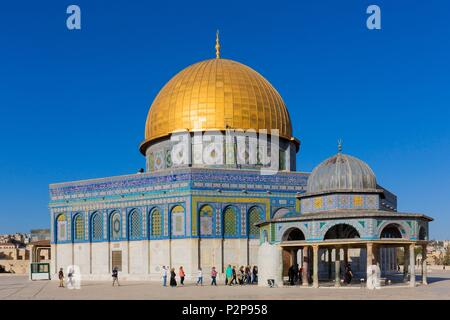 Israel, Jerusalem, the UNESCO World Heritage Old Town, the Muslim Quarter, the Mosque Esplanade, the Dome of the Rock (often called the Omar Mosque) - Stock Image