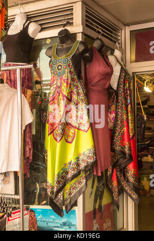 Colourful dresses hanging outside Indian fashion store on Baldwin St. in Kensington Market in downtown Toronto, - Stock Image