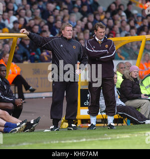 Footballer Glenn Hoddle and his brother Carl Hoddle Wolverhampton Wanderers v Sheffield United 08 May 2005 - Stock Image