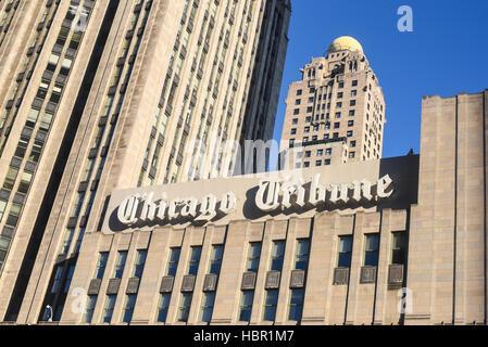 Chicago Tribuine building sign, Chicago, Illinois. - Stock Image