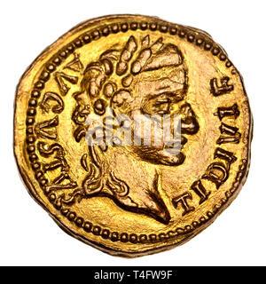 Roman Coin - Caesar Augustus Tiberius (replica) - Stock Image