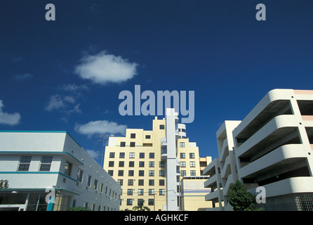 Miami Florida FL South Beach Classic Art Deco Architecture Ocean Drive skyline - Stock Image