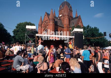 Berlin carnival of cultures Kreuzberg multi cultural event people outdoor stage | Karneval der Kulturen - Stock Image