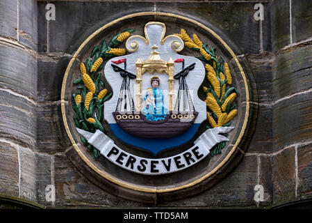 The burgh arms of  Leith on the Mercat Cross in Parliament Square next to St Giles Cathedral on the High Street in the Old Town of Edinburgh. - Stock Image