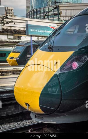 Hitachi Class 800 Intercity Express locomotive train at Paddington Station, London, UK - Stock Image