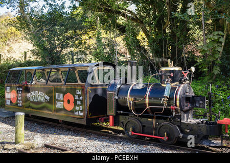 Great Laxey Mine steam railway train engine visitor attraction. Laxey, Isle of Man, British Isles - Stock Image