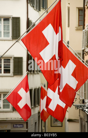 swiss flags in zurich - Stock Image
