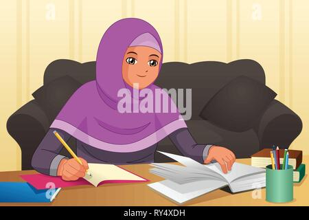 A vector illustration of Muslim Girl Doing Homework at Home - Stock Image