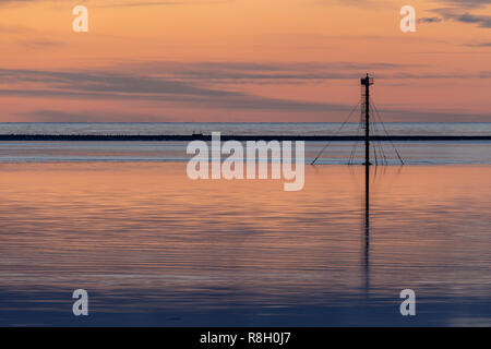 Dusk over the Conwy estuary on the North Wales coast at Deganwy - Stock Image