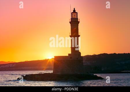 Lighthouse at sunrise, Chania, Crete, Greece - Stock Image