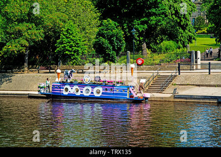 The Full Moo Ice Cream Boat, River Ouse, York, England - Stock Image