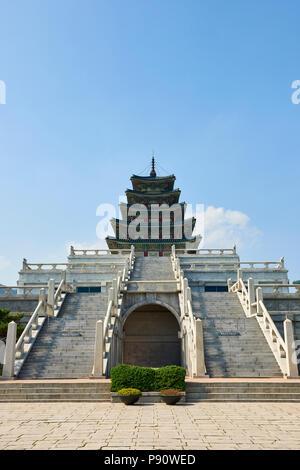 Staircase leading to Pagoda near Gyeongbokgung Palace in Seoul, South Korea. - Stock Image