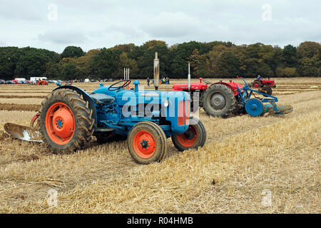 Classic tractors at a ploughing match during the 2018 Skeyton Trosh event in Norfolk. - Stock Image