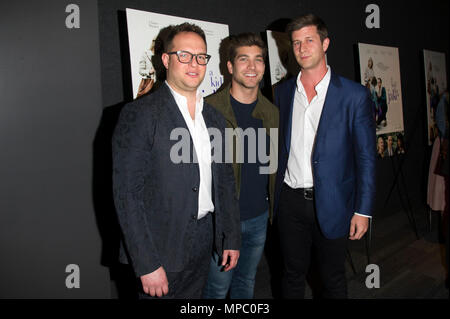 New York, USA. 21st May, 2018. (L-R) Executive producers Sam Slater (L) and David Bernon and producer Paul Bernon attend 'A Kid Like Jake' New York premiere at The Landmark at 57 West on May 21, 2018 in New York City. Credit: Ron Adar/Alamy Live News - Stock Image