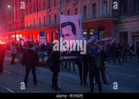 Warsaw, Poland, 11 November 2018: All-Polish Youth organization with banners of Jan Mosdorf - Stock Image