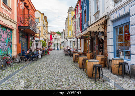Streets and coffees at Kapana district in city of Plovdiv, Bulgaria - Stock Image